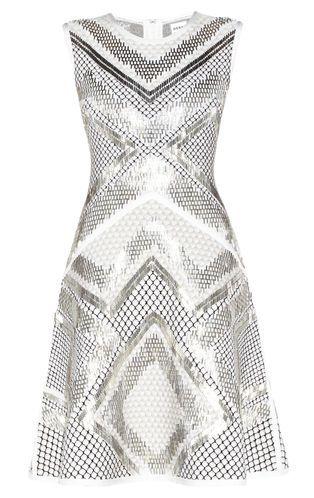 Saira Geometric-Beaded Mesh-Detail Dress