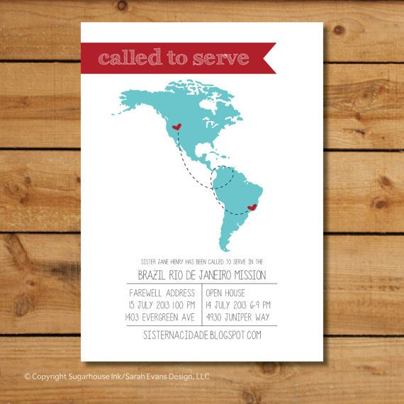 LDS Mission Announcement - Called To Serve Americas Map - Custom Printable