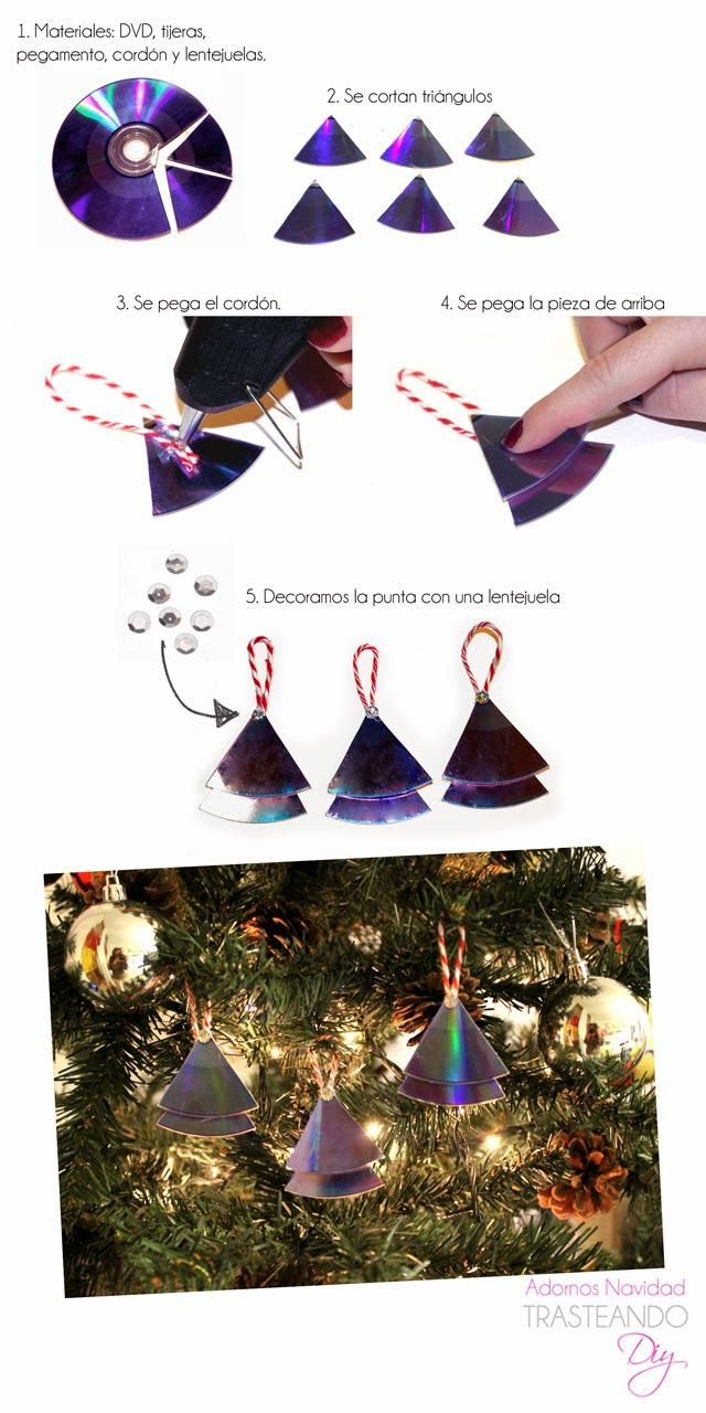TRASTEANDO... DIY DIY ADORNOS DE NAVIDAD CON CDS DIY CHRISTMAS DECORATIONS WITH RECICLED CD MATERIAL