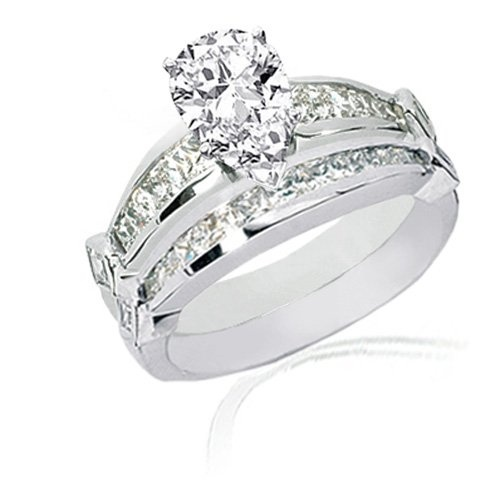 Pear Shaped Diamond Engagement Wedding Rings Set W