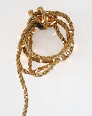 Weave Christmas lights into a rope to decorate your deck, boat or boathouse during summer months, or add a nautical style for Christmas.