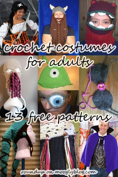 Crochet Costumes for Adults! - free pattern roundup on mooglyblog.com  http://www.mooglyblog.com/10-crochet-costumes-patterns-for-adults/#more-2301