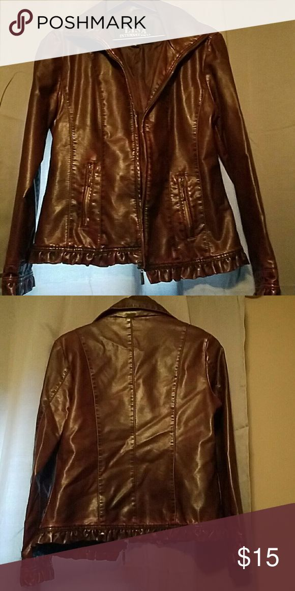 Medium dressy jacket Purchased from Dillards.. very cute with black tank underneath.. love zip up jackets.. very sexy!! Color is maroon and black... Jackets & Coats