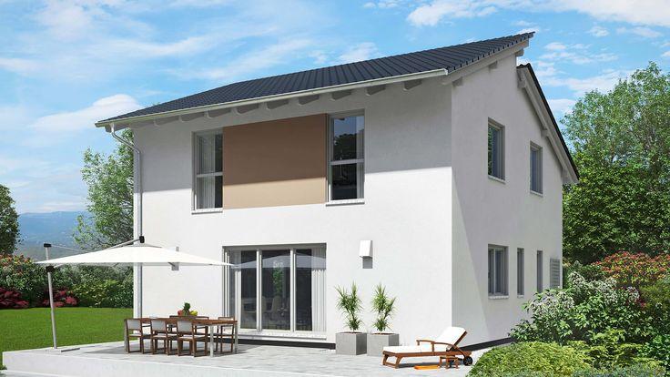 Fingerhut Einfamilienhaus weiß verputzt mit Teilflächen braun abgesetzt schwarzes Pultdach bodentiefe Terrassenfenster Terrasse mit Holzmöbel