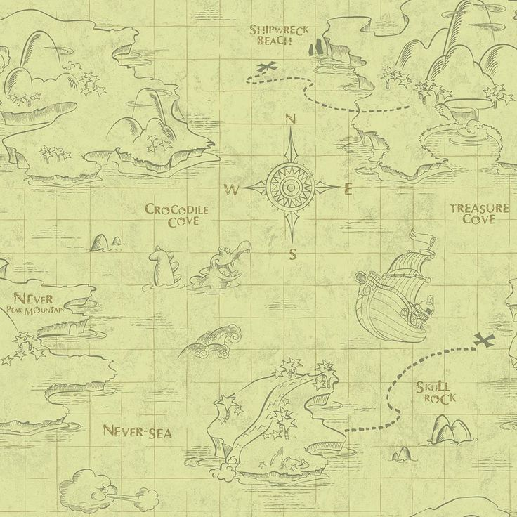 Disney's Jake and the Never Land Pirates Map Removable Wallpaper, Beig/Green (Beig/Khaki)