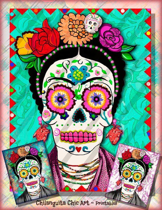 Frida Kahlo Calavera de Azúcar Collage Digital Instant