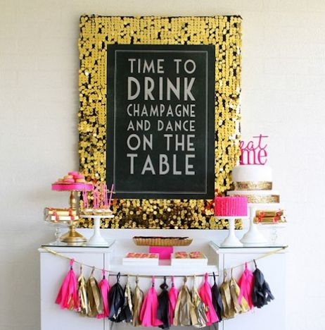 time to drink champagne and dance on the table, pink gold and black party decor…