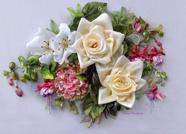 Il mio mondo meraviglioso di nastro: Ortensia,rose e fucsie, nuovo!