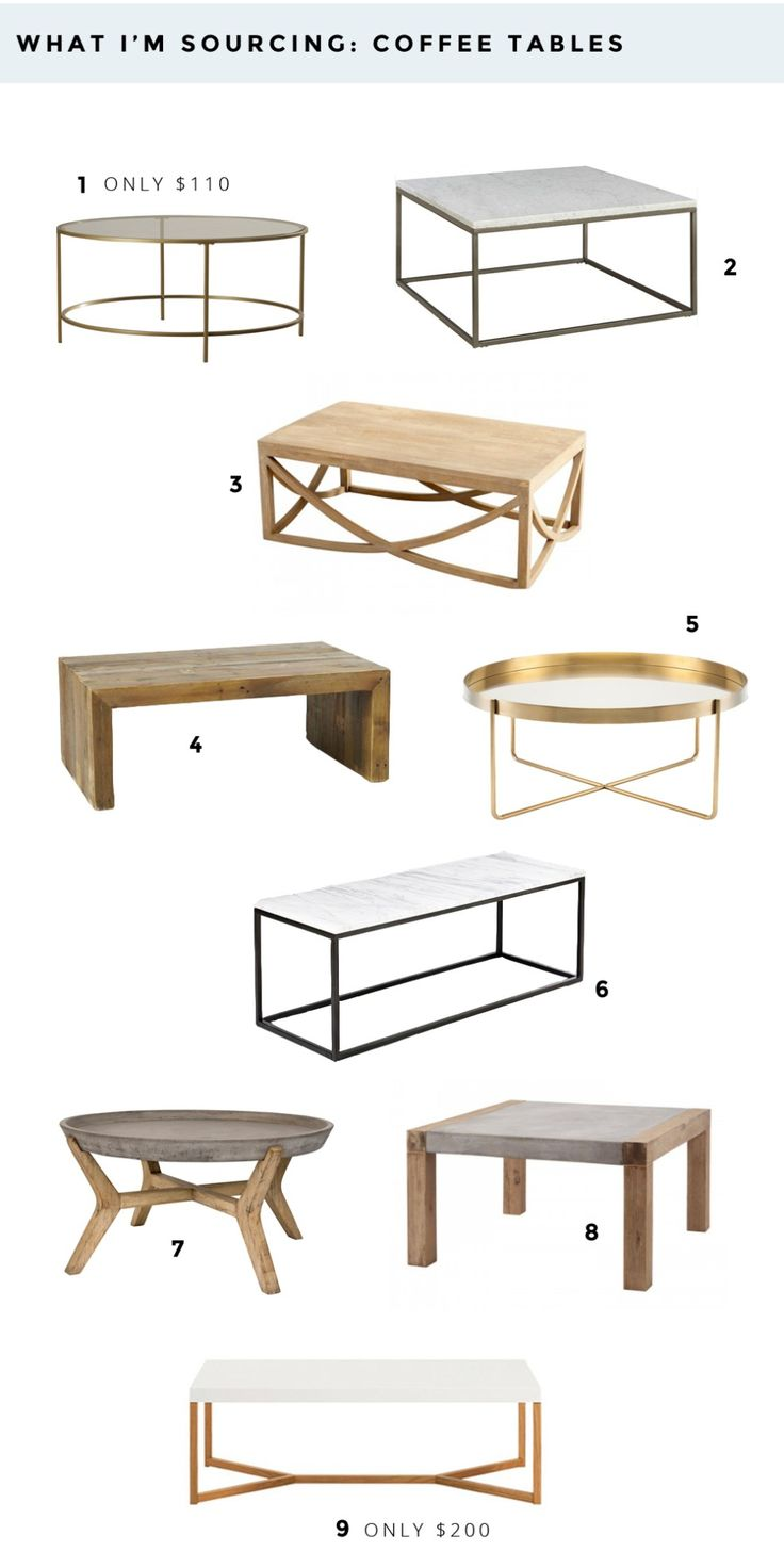 WHAT I'M SOURCING: COFFEE TABLES  affordable coffee tables for any space and style.