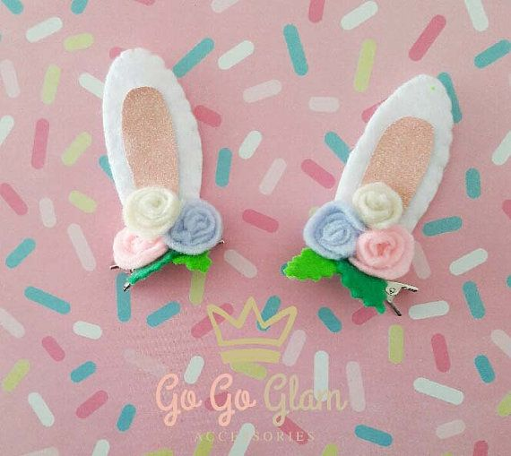 The perfect complement for the girls outfit or costume Cute hairclips for girls for this easter Customized colors Handmade  Hand wash If you want an
