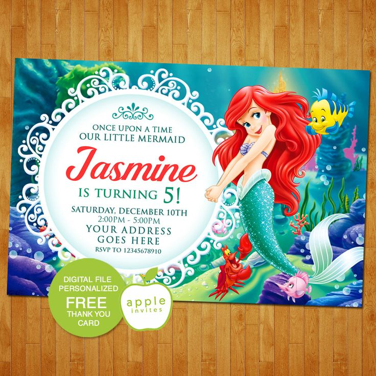 Best Little Mermaid Invitations Ideas On Pinterest Mermaid - Custom ariel birthday invitations