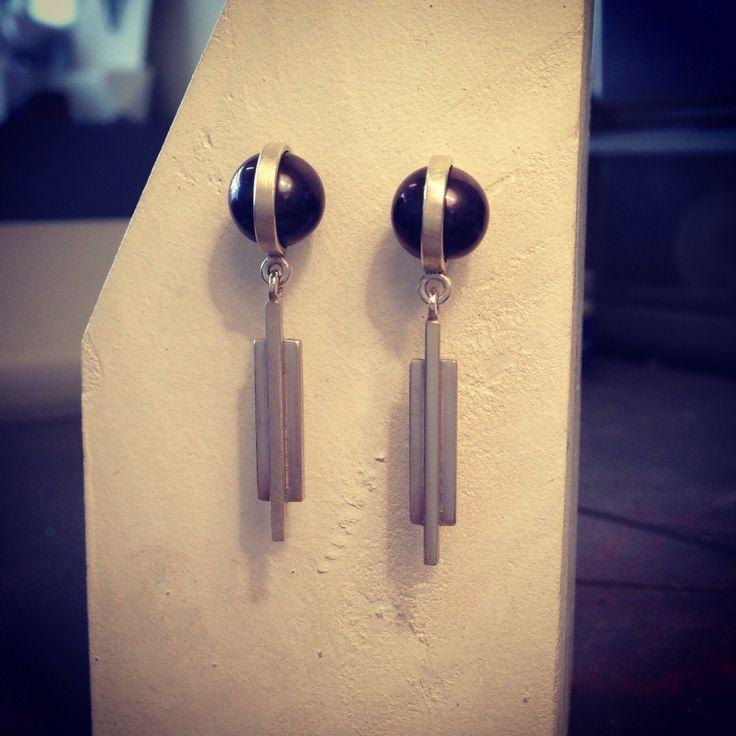 """""""Core"""" Drop Earrings. Sterling silver & Black Pearls"""