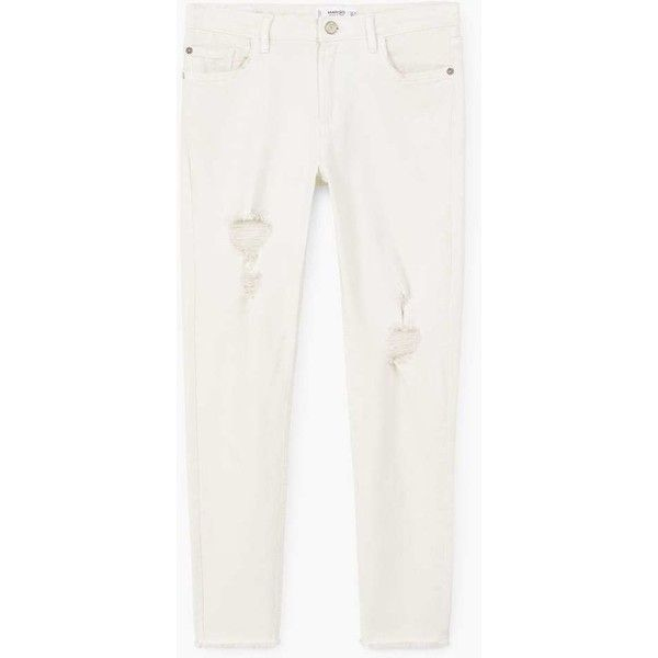 Ripped Details Slim-Fit Jeans ($20) ❤ liked on Polyvore featuring jeans, white destroyed jeans, zip jeans, destructed jeans, white distressed jeans and destroyed jeans