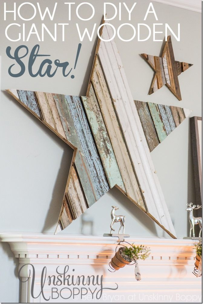 How to DIY a giant star out of reclaimed pieces of trim and wood.  Perfect for the Christmas mantel!
