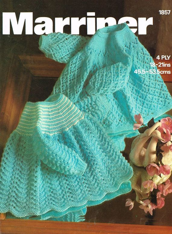 Marriner 1857    baby matinee dress - two designs    vintage knitting pattern    4 ply wool    18 - 21 inch chest size