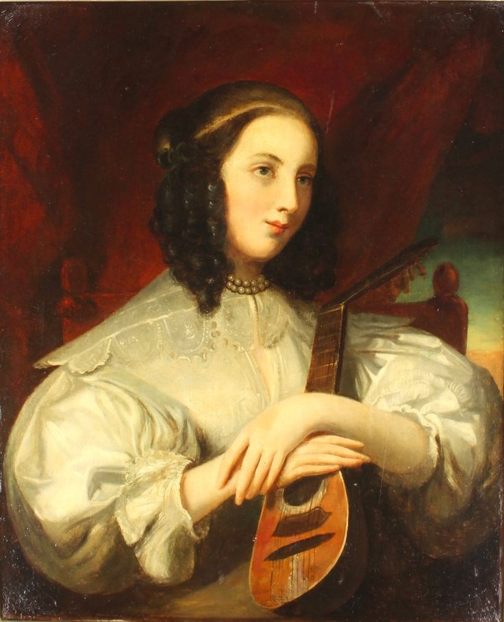 """Lot 523 In the manner of Francois Pascal Simon (Baron Gerard), oil on canvas, portrait of a lady holding a lute, unsigned, re-lined 28"""" x 23"""", sold for £1,150"""