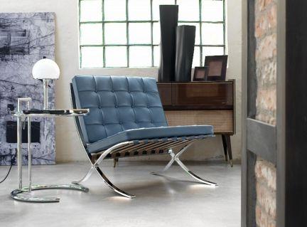 Der Barcelona-Sessel wurde vom Architekten Ludwig Mies van der Rohe (1886–1969) für den deutschen Pavillon der Weltausstellung 1929 in Barcelona konzipiert, um dem spanischen Königspaar bei der feierlichen Eröffnung des Gebäudes als Sitzgelegenheit zu dienen.   Barcelona-Sessel bei Dimensione für nur € 890,00  http://www.dimensione-bauhaus.com/de/bauhaus/produkt/26-lounge-chair--dim/