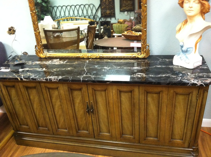 Marble-top credenza and buffet
