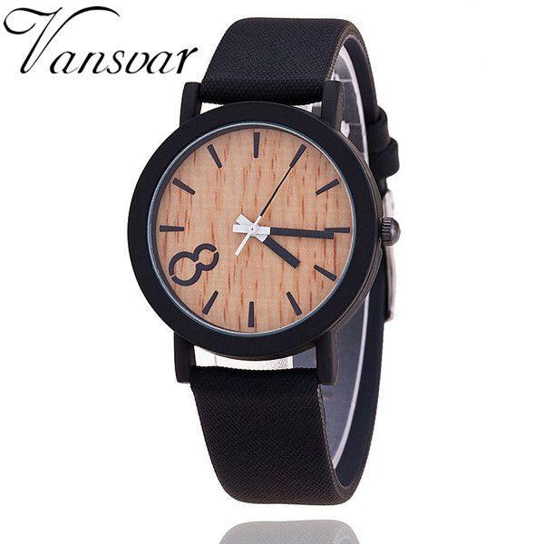 Simulation Wooden Relojes Quartz Watch Color Leather Strap