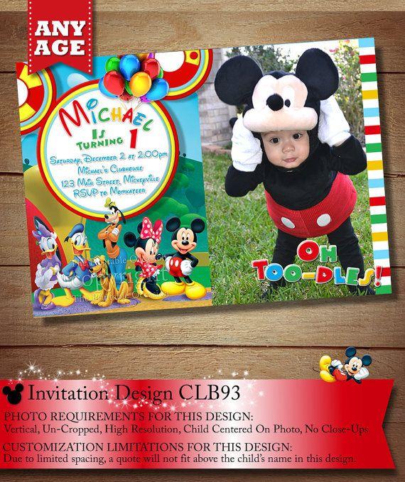 Clubhouse Mickey Mouse Birthday Invitation, Minnie, Mickey Donald Goofy Daisy Invitation