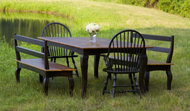 Farm table with matching benches by the lake