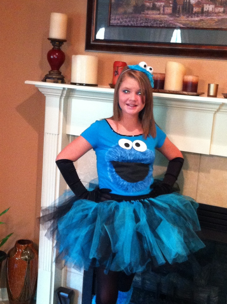 Cookie Monster costume- get a cookie monster shirt, then make a tutu!