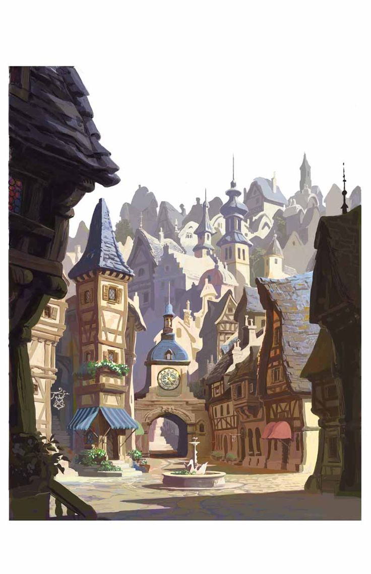 """""""Tangled"""" town square sketch by Kevin Nelson"""