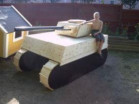 Grandson  Tony on his Tank