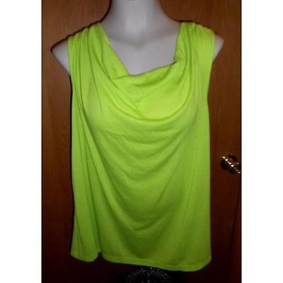 Women's Cowl Neck Twist Back Tank, Lime Punch, Medium In The Mix