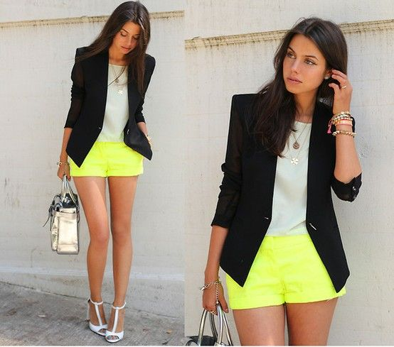 yellow shorts: Shoes, Neon Shorts, Outfits, Yellow Shorts, Color, Street Style, Neon Style, Neon Yellow, Black Blazers