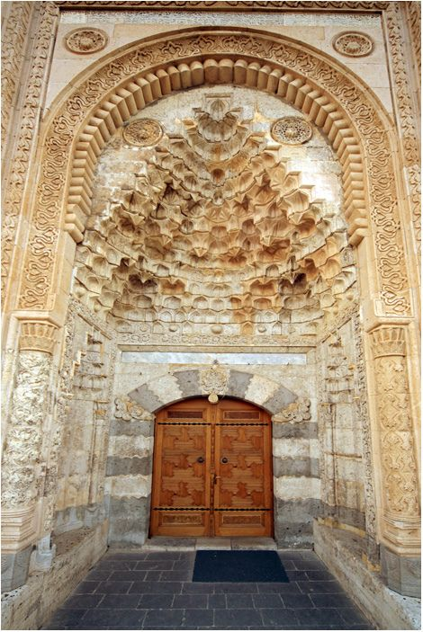 The main door of Esrefoglu Mosque from the Seljuks period ca 800 years old, Beysehir, Konya - Turkey