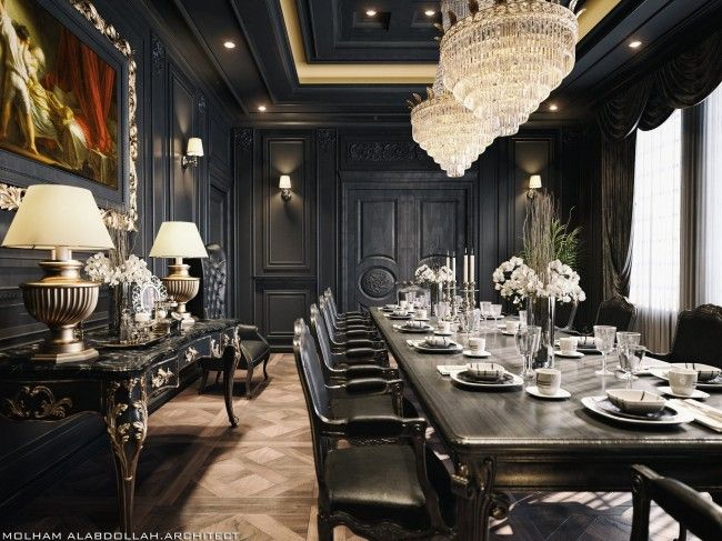 Black Dinning Room In 2021 Black Dining Room Mansion Living Room Blue Dining Room Decor Dark turkish dining room decor