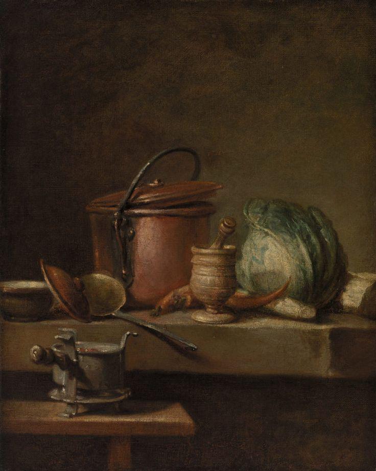 Still Life with Copper Pot, Cabbage, Pestle, and Stove (Table de cuisine avec marmite de cuivre, chou, égrugeoir et réchaud)