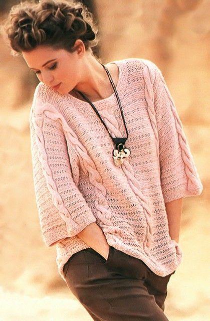 Красивый, удобный и легкий, как весенний ветерок, пуловер с косами отличной подойдет для любой фигуры, так как его прямой покрой поможет скрыть ее недостатки. Размер: S/M ВАМ ПОНАДОБИТСЯ  600 г пряжи…
