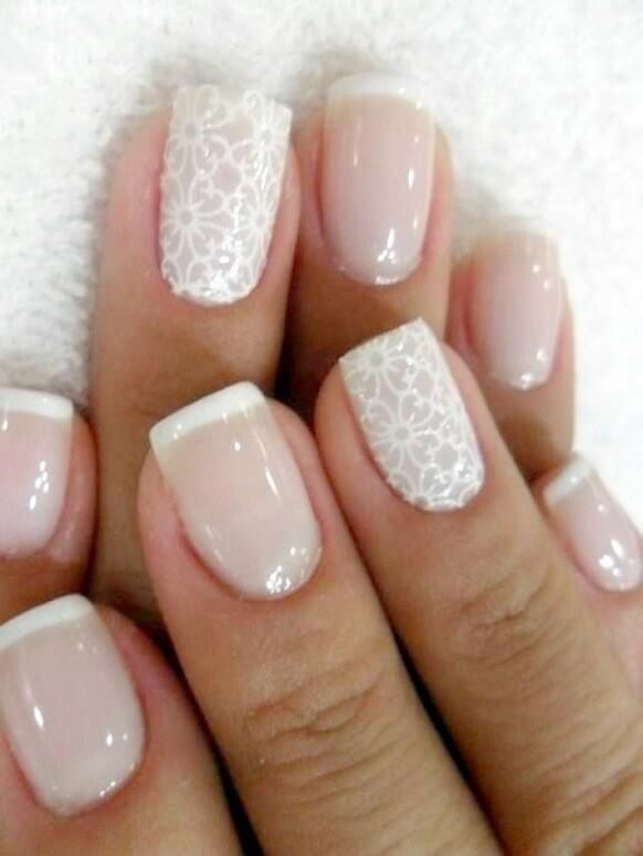 Nails for wedding. Classic French tip with a twist on ring fingers.