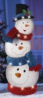 KNLstore 34″h LED Lighted Stacked Snowman Jack Fro…