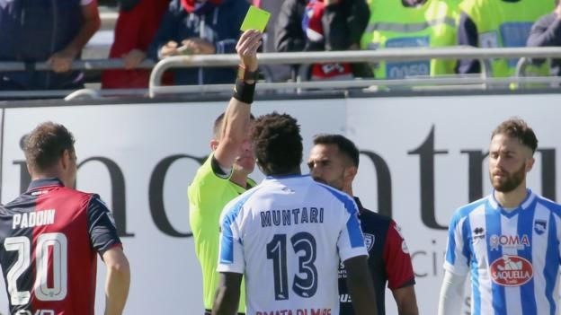 Sulley Muntari: Pescara midfielder booked after reporting 'racial abuse' http://www.bbc.co.uk/sport/football/39766542