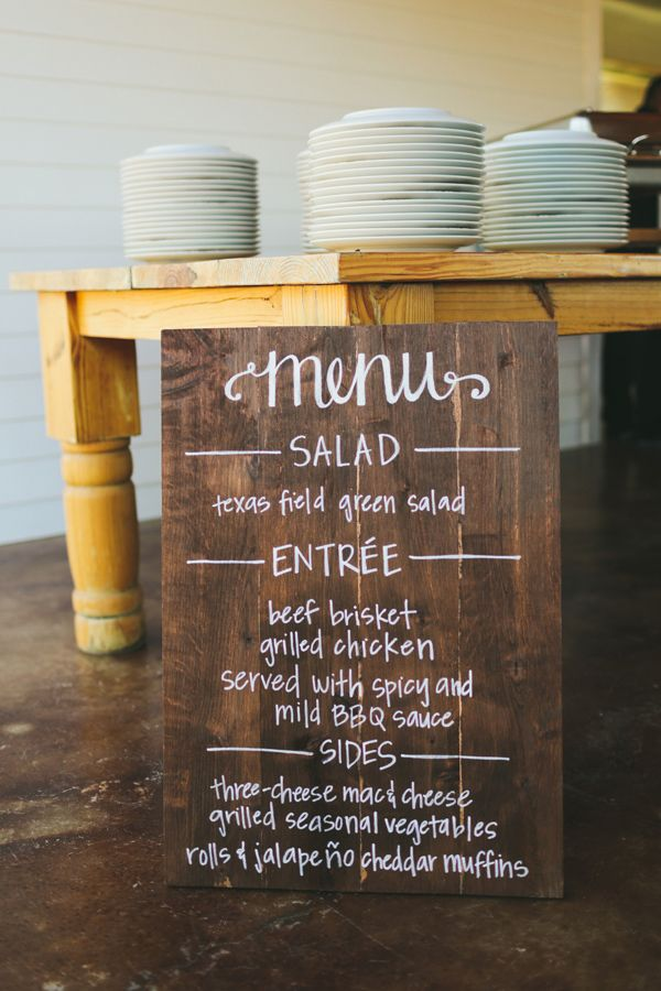 wedding menu on wooden sign.  Something like this with the door @Amy Lyons Lyons McClane