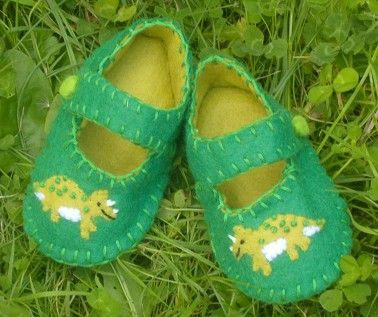 Dinosaur  Baby Shoes / Boys Felt Booties / by WithHugsandKisses