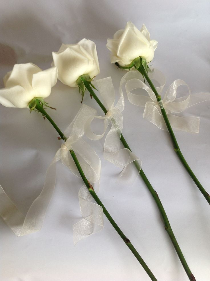 Single roses with ribbon for the bridesmaids