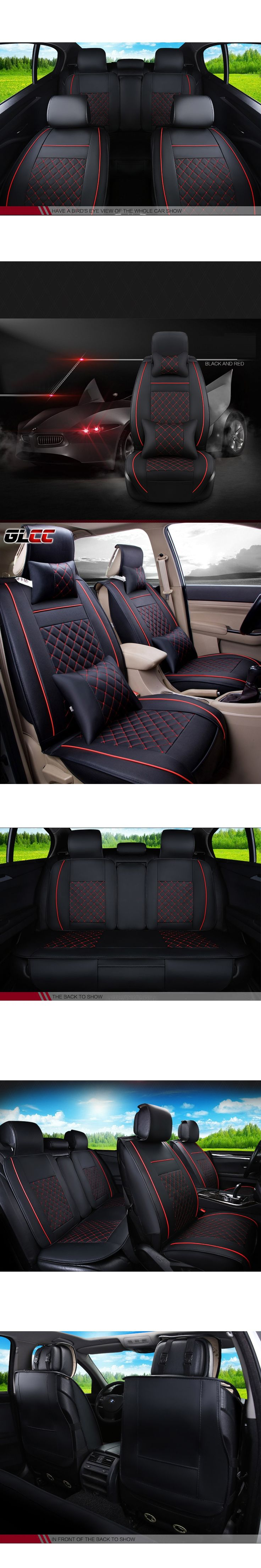 4colours Pu Leather Car Seat Covers Universal Fit Full Surrounded Automobiles Cover For 5seats Interior