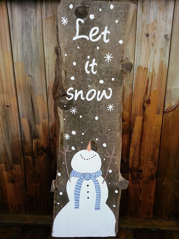 Snowman painted on barn board, let it snow. Made in Utopia.
