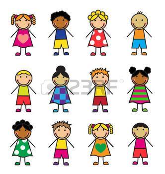 niños de palitos: Los niños de dibujos animados de diferentes nacionalidades en un fondo blanco