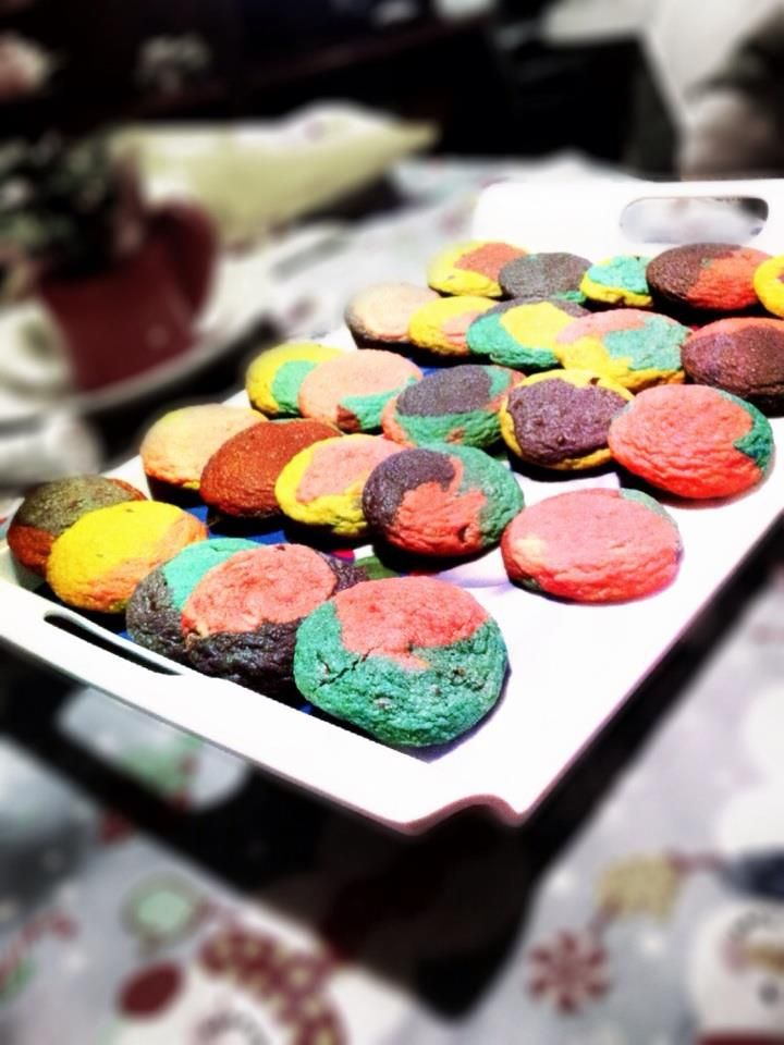 Rainbow Chocolate Chip Cookies. Your kids will LOVE these! The coolest cookies ever and they taste really good.