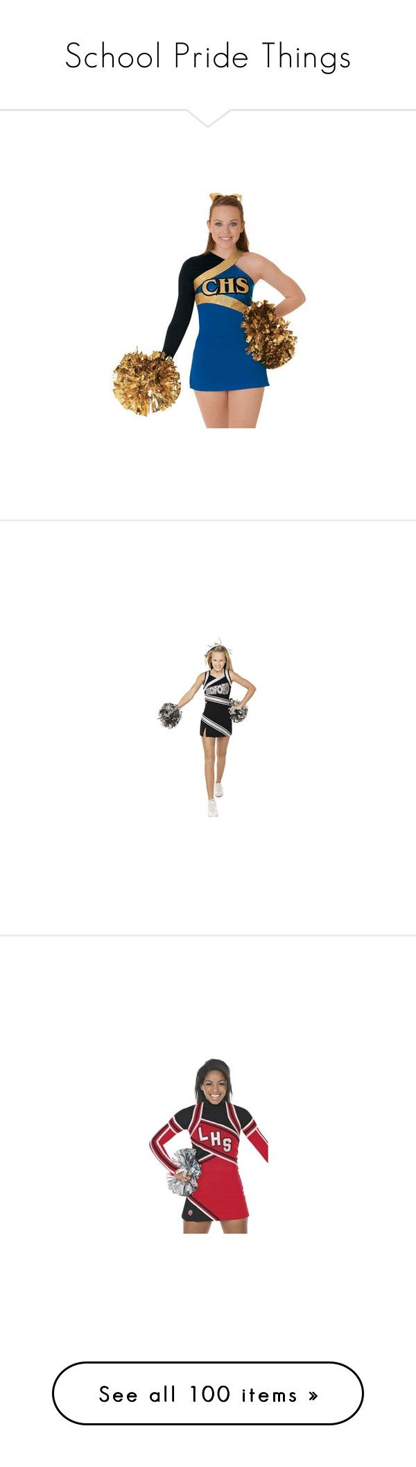 """""""School Pride Things"""" by lexius143 ❤ liked on Polyvore featuring cheer, cheerleader, cheerleading, costumes, dresses, school, cheerleader halloween costume, cheerleader costume, sports and lideres de torcida"""
