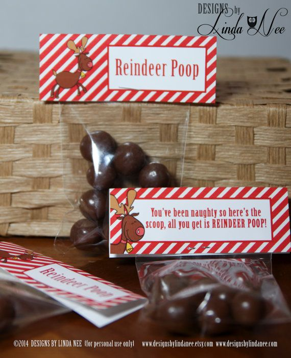 """Reindeer Poop Brights - Treat Bag Topper 4"""" - Printable - Party Package - Rudolph - Craft Fair - Favors - Quote - Party Favors - Winter"""