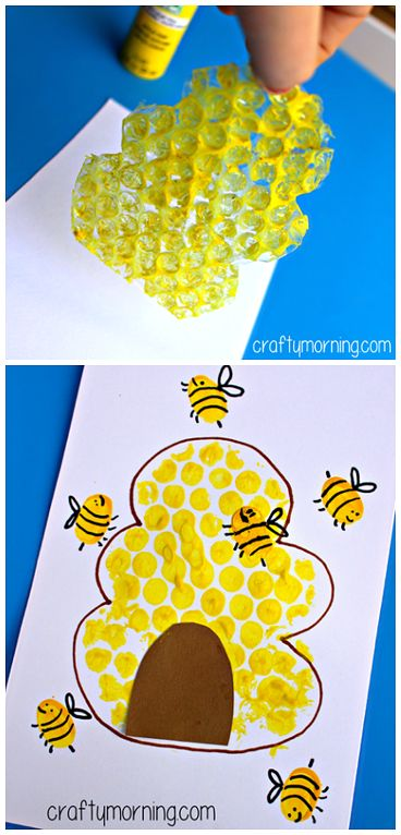Bubble Wrap Beehive + Fingerprint Bee Craft for Kids