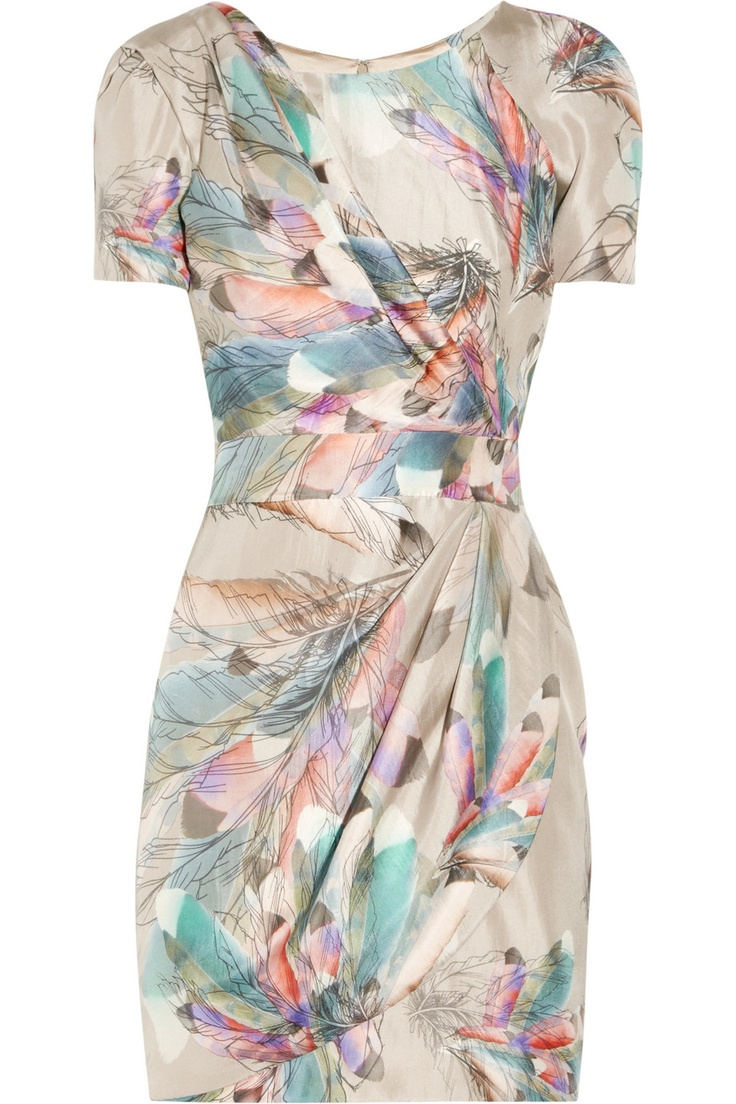Feathers . . .Bridesmaid Luncheon, Fashion, Floral Design, Pale Pink, Summer Prints, Williamson Feathers Prints, Spring Outfit, Matthew Williamson, Silk Satin Dresses