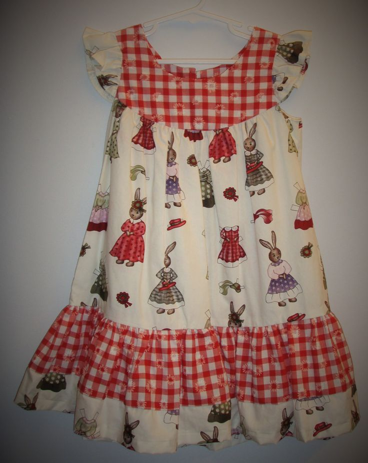 Girl's dress, size 3-4 years, unique, vintage look, hand sewn, rascally rabbits, gingham, one of a kind, girl's birthday dress, cute by LittleLarkClothing on Etsy