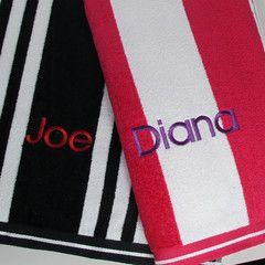 Large Personalised Velour Beach Towels. #beach #summerfun #personalisedbeachtowels